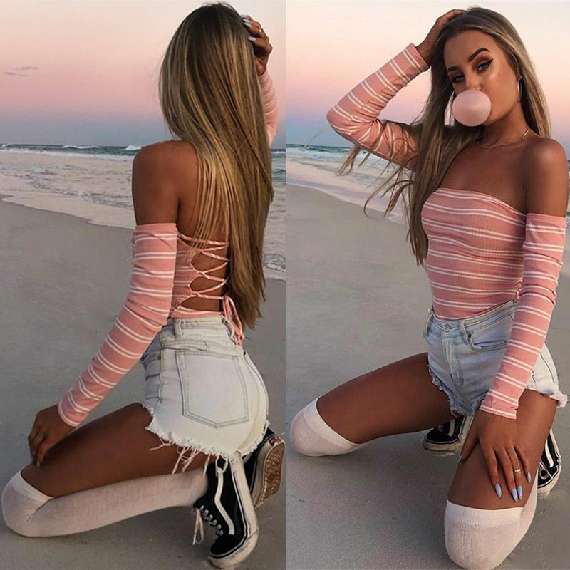 Stripe Strapless Long Sleeve Romper Jumpsuit Bodysuit