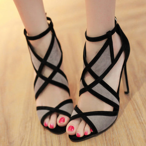 Gauze Women Fashion Hollow Peep Toe Sandals High Heels Shoes