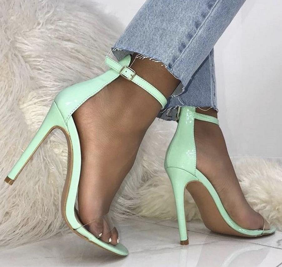 Candy Color Women Fashion Peep Toe Ankle Strap High Heels Shoes