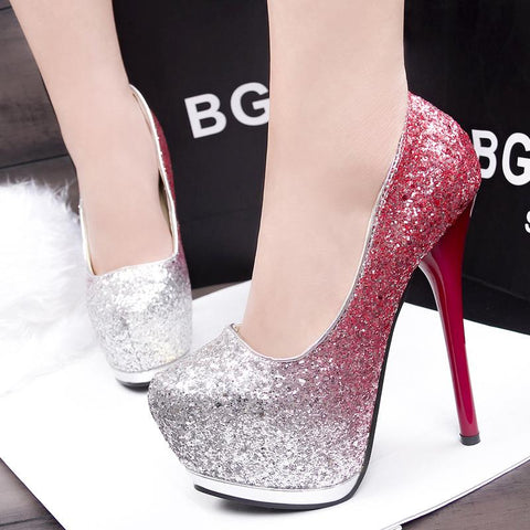 Sequins Fashion Women Platform High Heels Shoes
