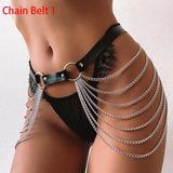 Leather body harness chain bra top chest chain belt witch gothic punk fashion metal girl festival jewelry accessories