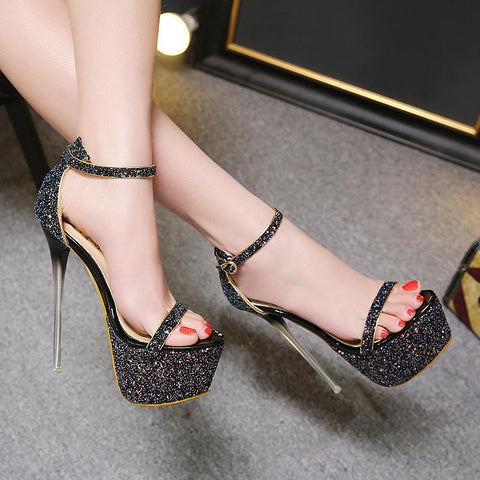 Ankle Strap Sequins Fashion Women Platform High Heels Shoes