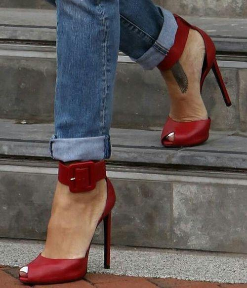Ankle Strap Women Fashion Leather Sandals High Heels Shoes
