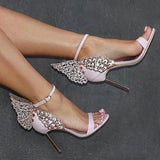 Butterfly Diamonds Women Fashion Sandals Stiletto High Heels Shoes