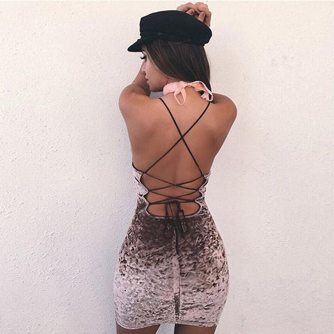 Velvet Spaghetti Strap Tight Backless Bodycon Mini Dress One Piece Dress