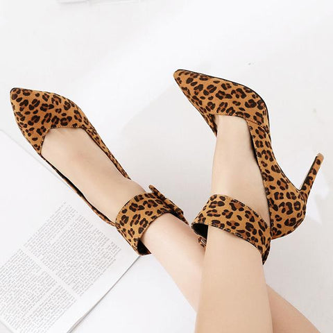 Pointed Toe Leopard Women Fashion High Heels Shoes