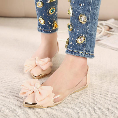 Bow Pointed Toe Fashion Women Flat Shoes