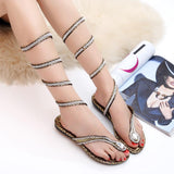 Rhinestone Snake Print Fashion Women Twining Sandals Flats Shoes
