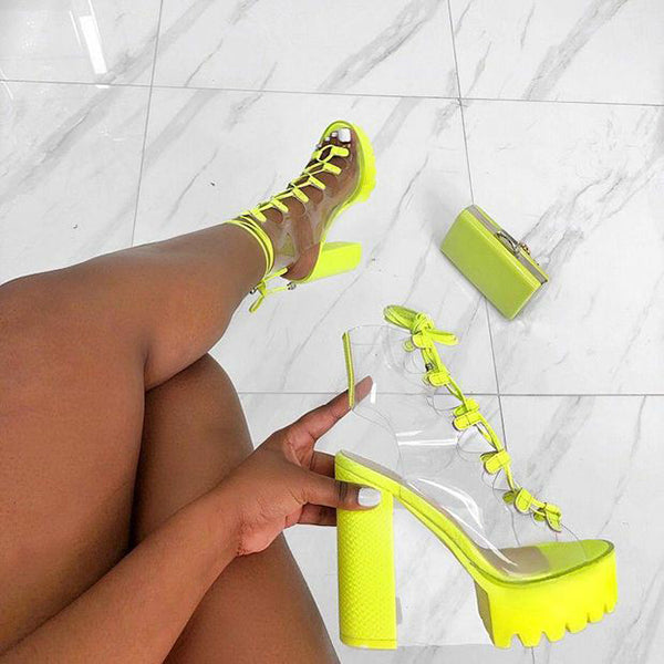 Women Fashion Open Toe Neon/Black/White Transparent Ankle Summer Boots Shoes
