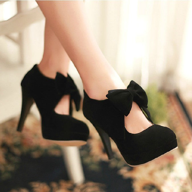 Black Bowknot High Heels Shoes