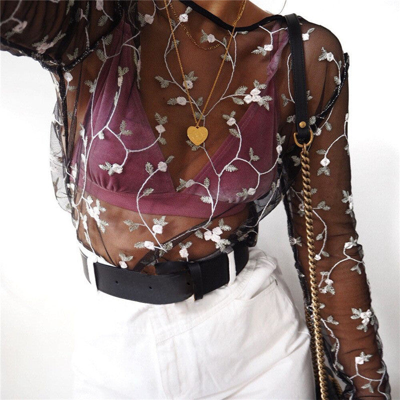 Flower Embroidery Long Sleeve Scoop Neck Tunic Shirt Top Blouse