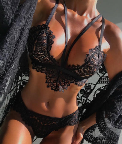 Lace Hollow Strap Fashion Underwear Lingerie Set
