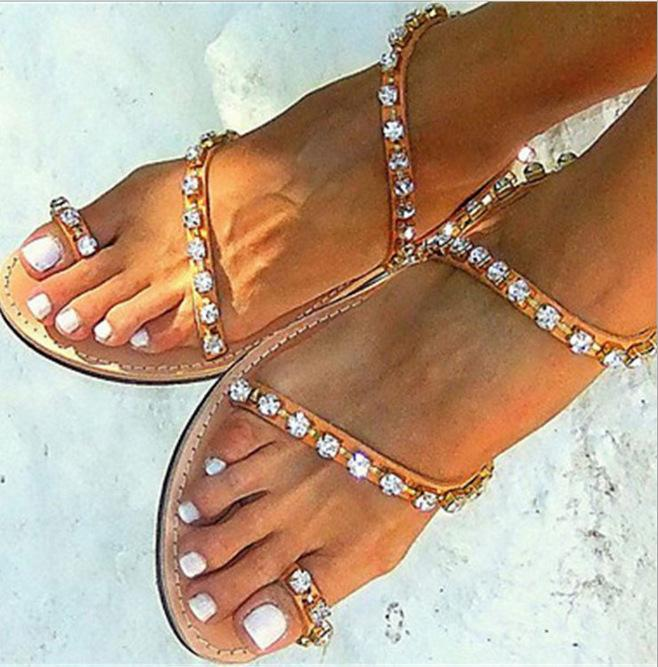 Fashion Rhinestone Women Beach Sandals Flats Shoes