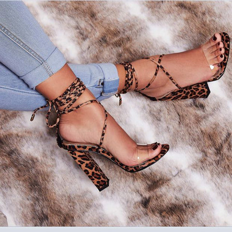 Hot Style Pvc Single Word Horizontal Leopard Print Cross Strap Chunky High Heel Sandals Shoes