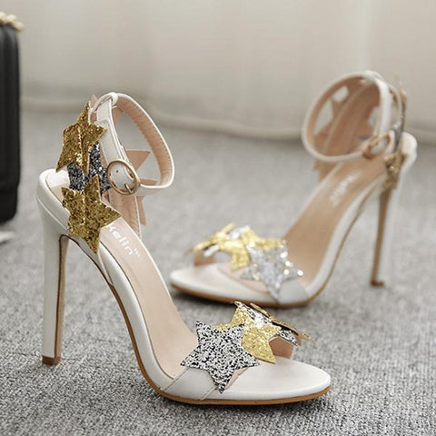 Stars Sequins Fashion Women Peep Toe Sandals High Heels Shoes