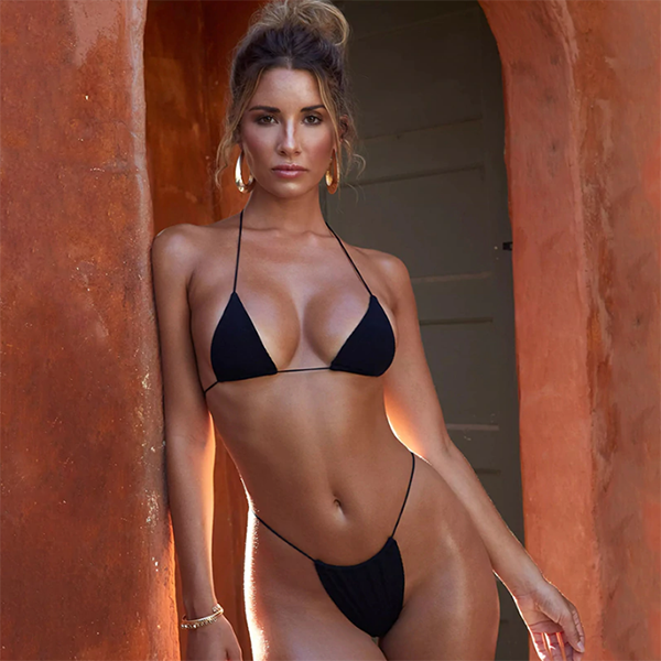 Halter Fashion Solid Color Beach Bikini Set Swimsuit Swimwear
