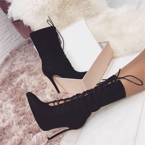 Crisscross Strappy Fashion Women Half Boots High Heels Shoes