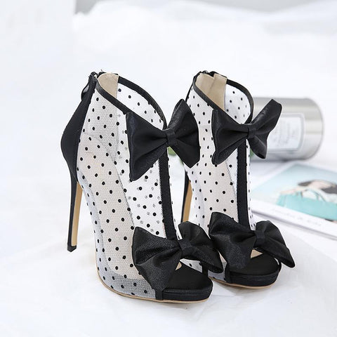 Bow Zipper Polka Dots Women Fashion Peep Toe Sandals High Heels Shoes