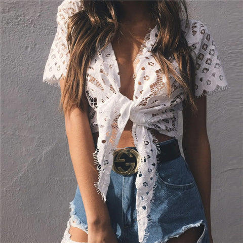 Lace Short Sleeve Hollow Strappy Tunic Shirt Top Blouse