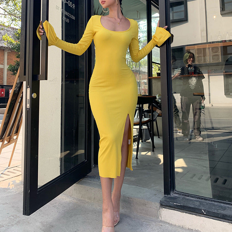 Solid Color Long Sleeve Fashion Bodycon Maxi Dress