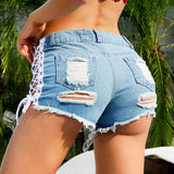 Ripped Hole Crisscross Women Denim Shorts