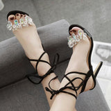 Rhinestone Crisscross Women Fashion Peep Toe High Heels Shoes