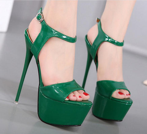 Ankle Strap Platform Women Fashion Peep Toe High Heels Shoes