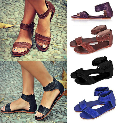 Ankle Strap Fashion Women Peep Toe Sandals Flats Shoes