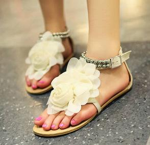 Flower Beaded Fashion Women Sandals Flats Shoes