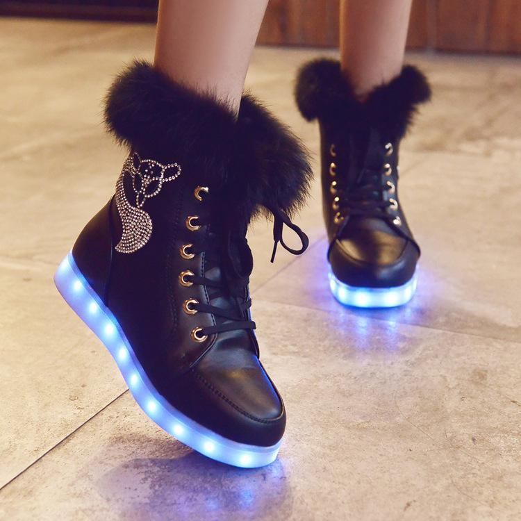 LED Fur Diamonds Fox Snow Boots Half Boots Shoes