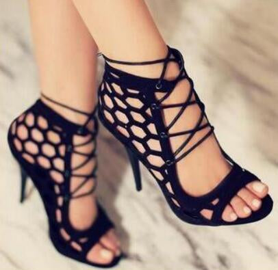 Hollow Strappy Crisscross Women Fashion Fish Mouth Sandals High Heels Shoes
