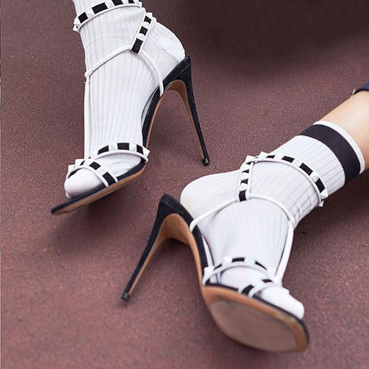 Hollow Peep Toe Fashion Women Ankle Strap Sandals High Heels Shoes