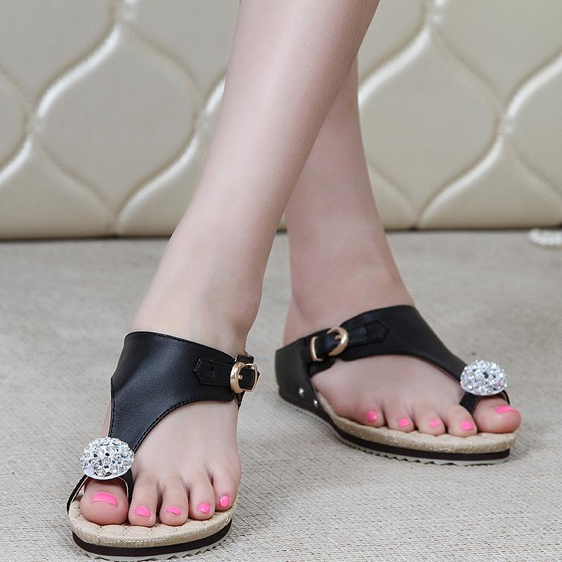 Diamonds Leather Women Fashion Buckle Flat Shoes