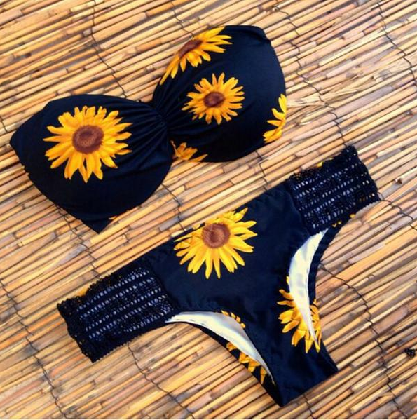 Sexy Sunflower Pattern Bikini Set Swimsuit Swimwear