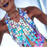 Fashion Punk Multicolor Halter Chain Vest Body Chain