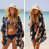 Fashion Print Chiffon Beach Cardigan Jacket Coat