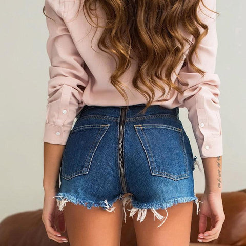 High Waist Ripped Zipper Fashion Denim Shorts