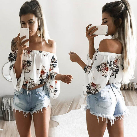 Sexy Casual Flower Off Shoulder Pagoda Sleeve Tunic Shirt Top Blouse