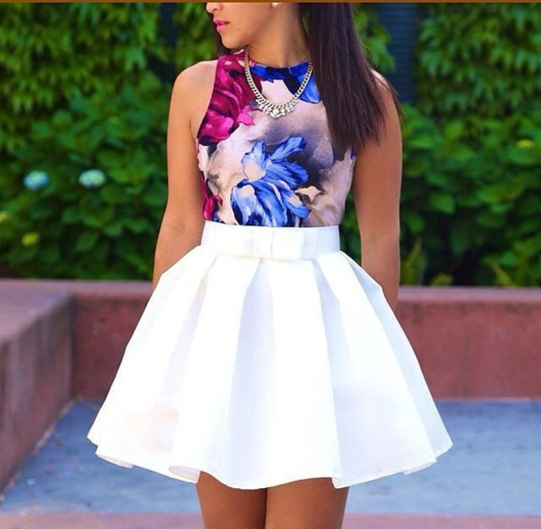 High Waist Solid color Skirt