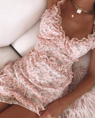 V Neck Floral Print Dress Elegant Women Off Shoulder Ruffle Party Dress Sexy Lace-Up Backless Mini Dresses