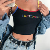 Women Crop Top Cropped Ladies Spaghetti Strap Elastic Camisole Sexy Heart Letter Embroidery Tank Tops