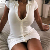Women Knitted Dresses Spring Sexy Bodycon Short Sleeve Party Club Mini White Dress For Women Female