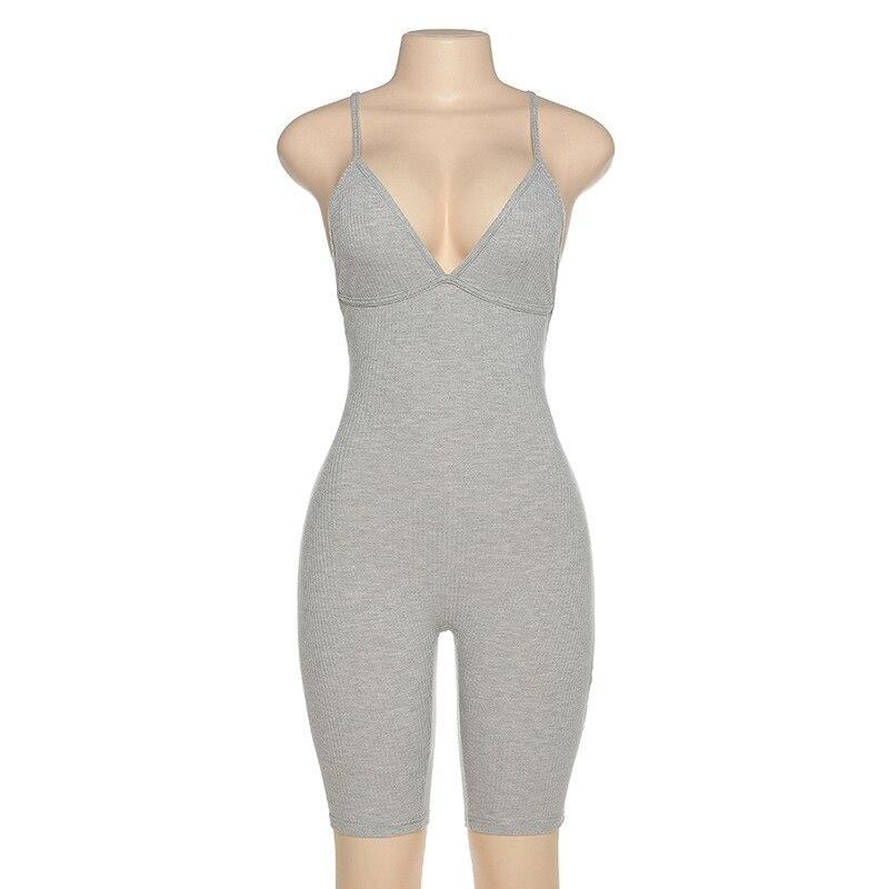 Women Sexy Sport Knitted Jumpsuit Streetwear Skinny Bodycon Backless Solid Jumpsuits Romper Playsuit For Women
