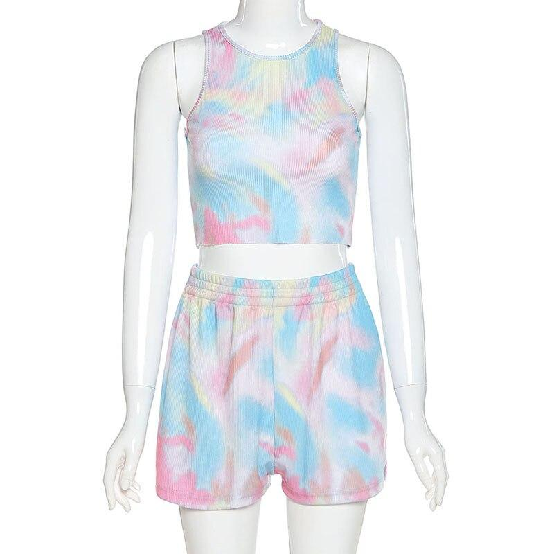 Women Sport 2 Two Piece Set Outfits Tie Dye Printed Sleeveless Top Tshirt Shorts Set Tracksuit