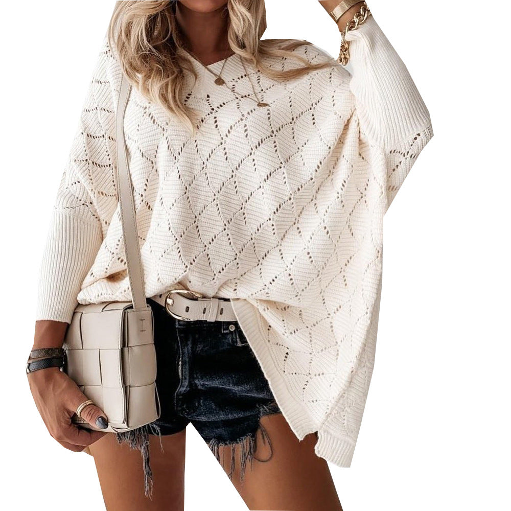 New Autumn Winter Sweater Bat Sleeve Hook Flower Sector Hollow Deep V-neck Knitted Top