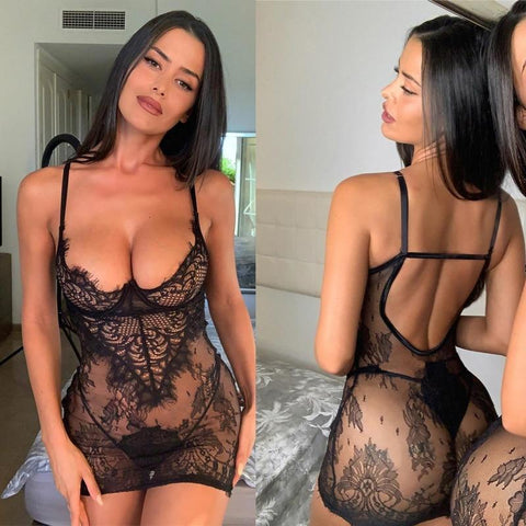 Women's Lingerie Mini Dress+G-string Lace Transparent Sexy Underwear Plus Size Babydoll Backless Dress