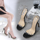 Rivets Ankle Strap Fashion Women Peep Toe Sandals High Heels Shoes