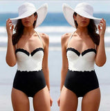 Halter Multicolor Beach One Piece Swimwear Bikini Swimsuit