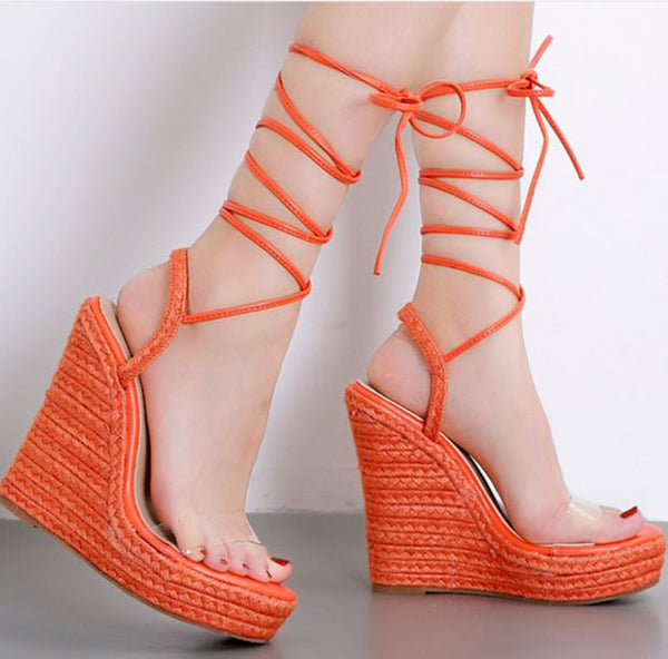 Hot Style Hot Selling Hemp Rope Cross Strap Wedges Shoes