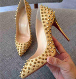 Rivets Pointed Toe Women Fashion High Heels Shoes